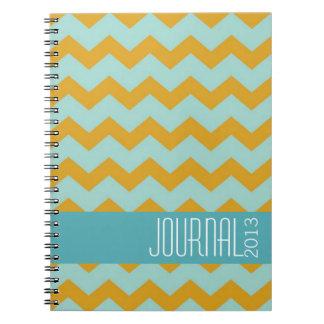 Diario personal moderno azul del oro del modelo de cuadernos