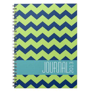 Diario personal moderno del verde azul del modelo  cuadernos
