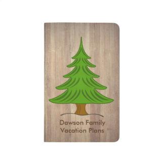 Diario personal rústico del árbol de pino