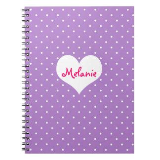 Diario personalizado corazón púrpura de muy buen g libro de apuntes con espiral