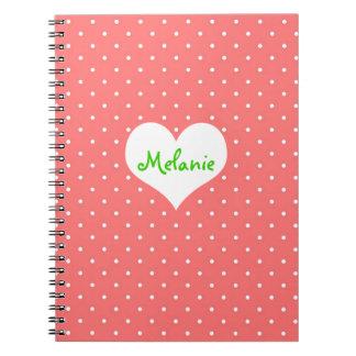 Diario personalizado corazón rosado de muy buen gu libreta espiral