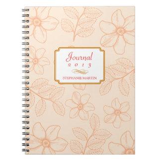 Diario personalizado floral del jardín romántico d libro de apuntes