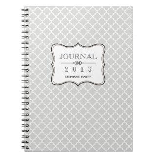 Diario personalizado teja marroquí gris del brezo cuaderno