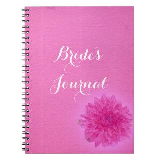 Diario rosado brillante del boda de la dalia libretas espirales