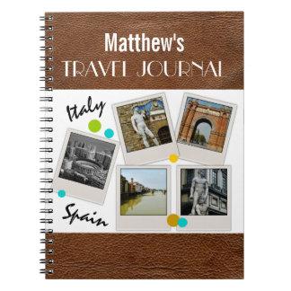 Diario y fotos de cuero del viaje de la mirada cuadernos