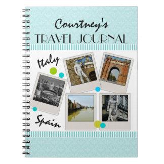 Diario y fotos elegantes del viaje del damasco de  libro de apuntes con espiral