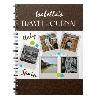 Diario y fotos elegantes del viaje del damasco de  cuadernos