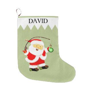 Días de fiesta de la pesca calcetín navideño grande