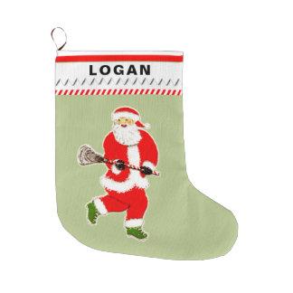 días de fiesta del lacrosse calcetín navideño grande