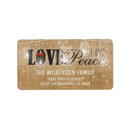 Días de fiesta rústicos del navidad del amor, de etiquetas de dirección
