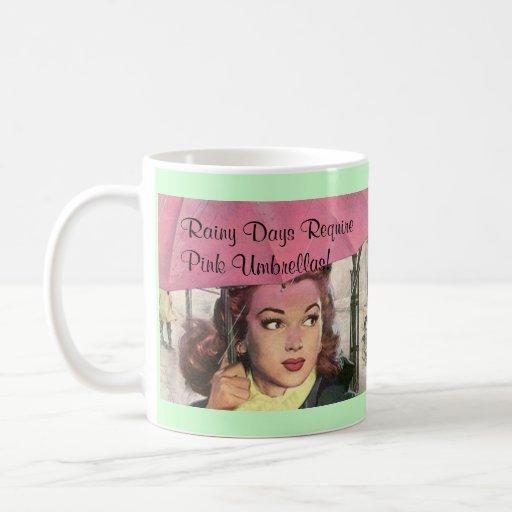 D as lluviosos del estilo retro y taza rosada de l zazzle for Tazas de te estilo vintage