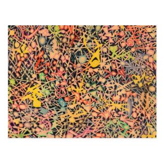 Dibuje a lápiz los círculos de color, las bolas y postal