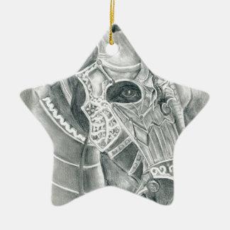 Dibujo acorazado del caballo adorno navideño de cerámica en forma de estrella