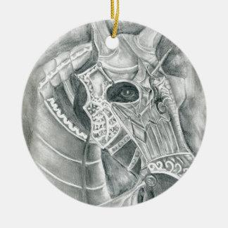 Dibujo acorazado del caballo adorno navideño redondo de cerámica
