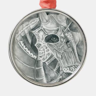 Dibujo acorazado del caballo adorno navideño redondo de metal