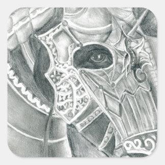 Dibujo acorazado del caballo pegatina cuadrada