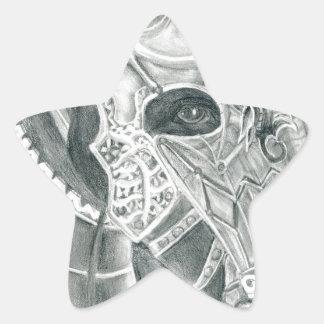 Dibujo acorazado del caballo pegatina en forma de estrella