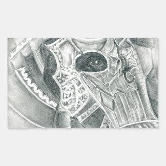 Dibujo acorazado del caballo pegatina rectangular