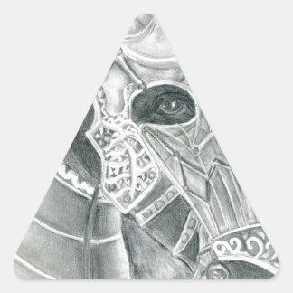 Dibujo acorazado del caballo pegatina triangular