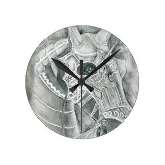 Dibujo acorazado del caballo reloj redondo mediano