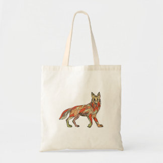 Dibujo aislado lado del coyote bolsa tela barata