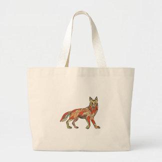 Dibujo aislado lado del coyote bolsa tela grande