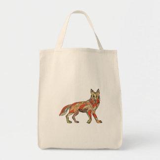 Dibujo aislado lado del coyote bolsa tela para la compra