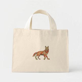 Dibujo aislado lado del coyote bolsa tela pequeña