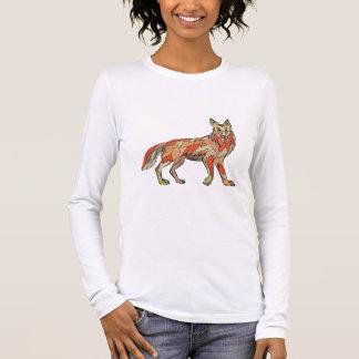 Dibujo aislado lado del coyote camiseta de manga larga