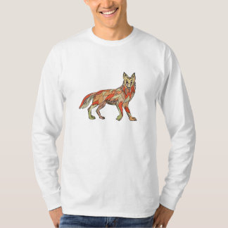 Dibujo aislado lado del coyote camisetas