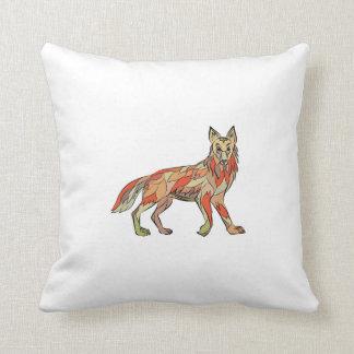 Dibujo aislado lado del coyote cojín