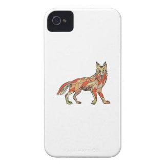 Dibujo aislado lado del coyote funda para iPhone 4