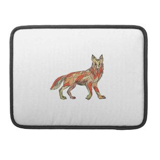 Dibujo aislado lado del coyote funda para macbooks