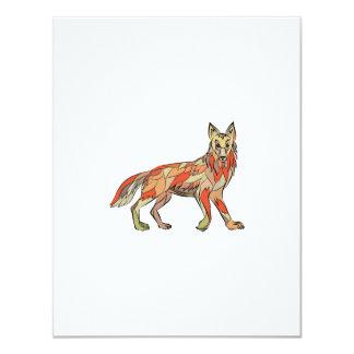 Dibujo aislado lado del coyote invitación 10,8 x 13,9 cm