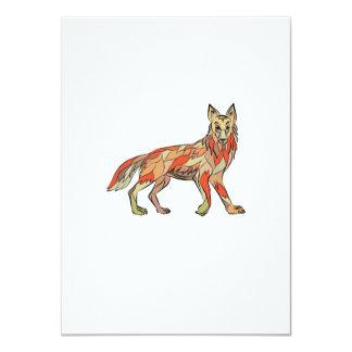 Dibujo aislado lado del coyote invitación 11,4 x 15,8 cm