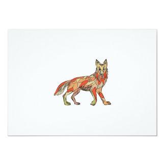Dibujo aislado lado del coyote invitación 12,7 x 17,8 cm