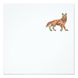 Dibujo aislado lado del coyote invitación 13,3 cm x 13,3cm
