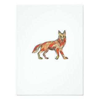 Dibujo aislado lado del coyote invitación 13,9 x 19,0 cm
