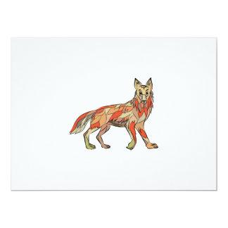 Dibujo aislado lado del coyote invitación 16,5 x 22,2 cm