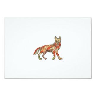 Dibujo aislado lado del coyote invitación 8,9 x 12,7 cm