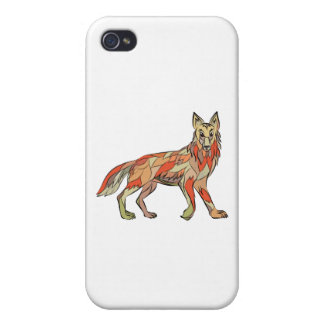 Dibujo aislado lado del coyote iPhone 4 funda