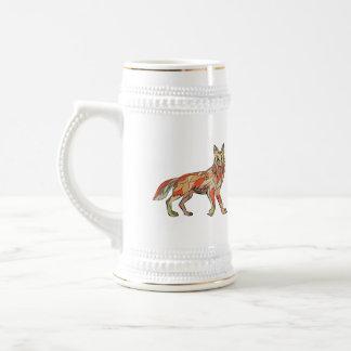 Dibujo aislado lado del coyote jarra de cerveza