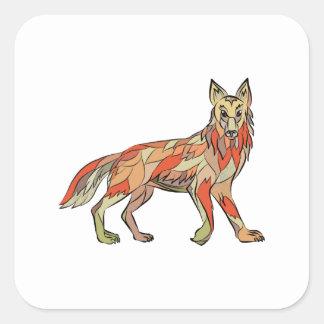 Dibujo aislado lado del coyote pegatina cuadrada