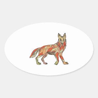 Dibujo aislado lado del coyote pegatina ovalada