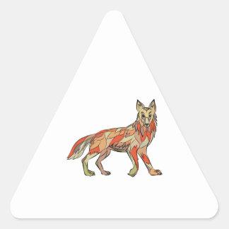 Dibujo aislado lado del coyote pegatina triangular