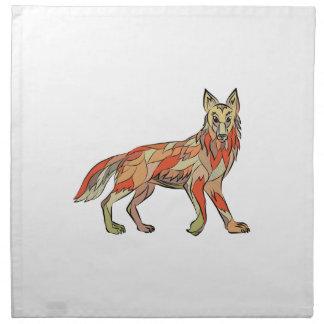 Dibujo aislado lado del coyote servilletas imprimidas