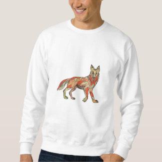 Dibujo aislado lado del coyote sudaderas encapuchadas