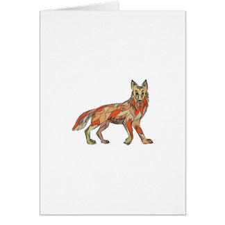 Dibujo aislado lado del coyote tarjeta de felicitación