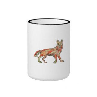 Dibujo aislado lado del coyote taza de dos colores