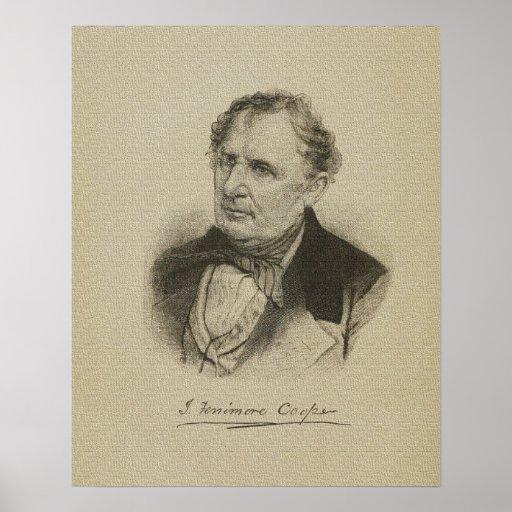 Dibujo americano de James Fenimore Cooper autor Poster